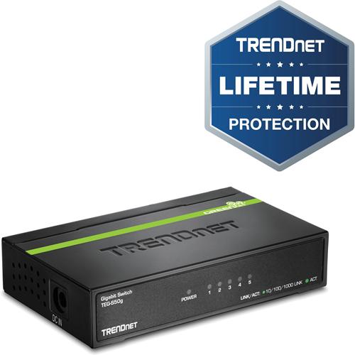Conmutador Ethernet TRENDnet TEG-S50G 5 - 5 x Gigabit Ethernet Red - 2 Capa compatible
