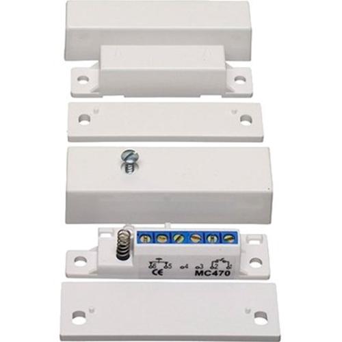 Alarmtech MC 470 Contacto magnético - N.C. - Para Puerta - Montaje en superficie - Blanco, Marrón