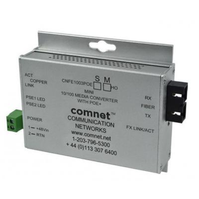 CONVERSOR DE MEDIOS 10 / 100MBPS POE + (30W IEEE 802.3AT) MONOMODO 2 FIBRAS CONECTORES SC MINI