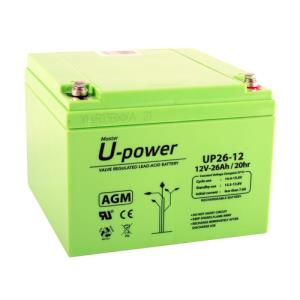 BATERIA DE PLOMO RECARGABLE Y SELLADA SERIE UP 12V 26 AH.